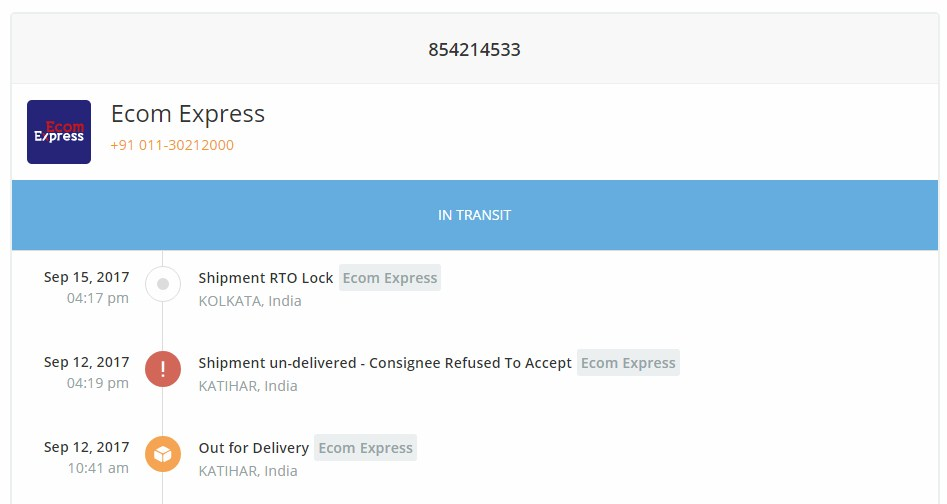ecom express tracking sample