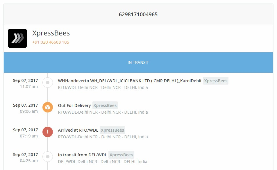xpressbees tracking sample