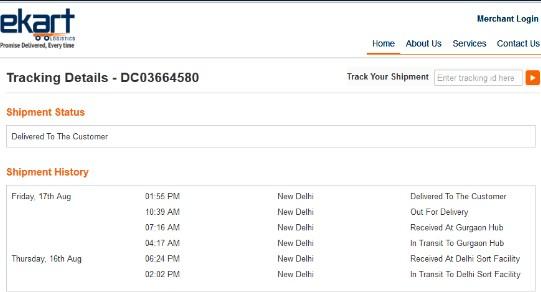Ekart Logistics Tracking service